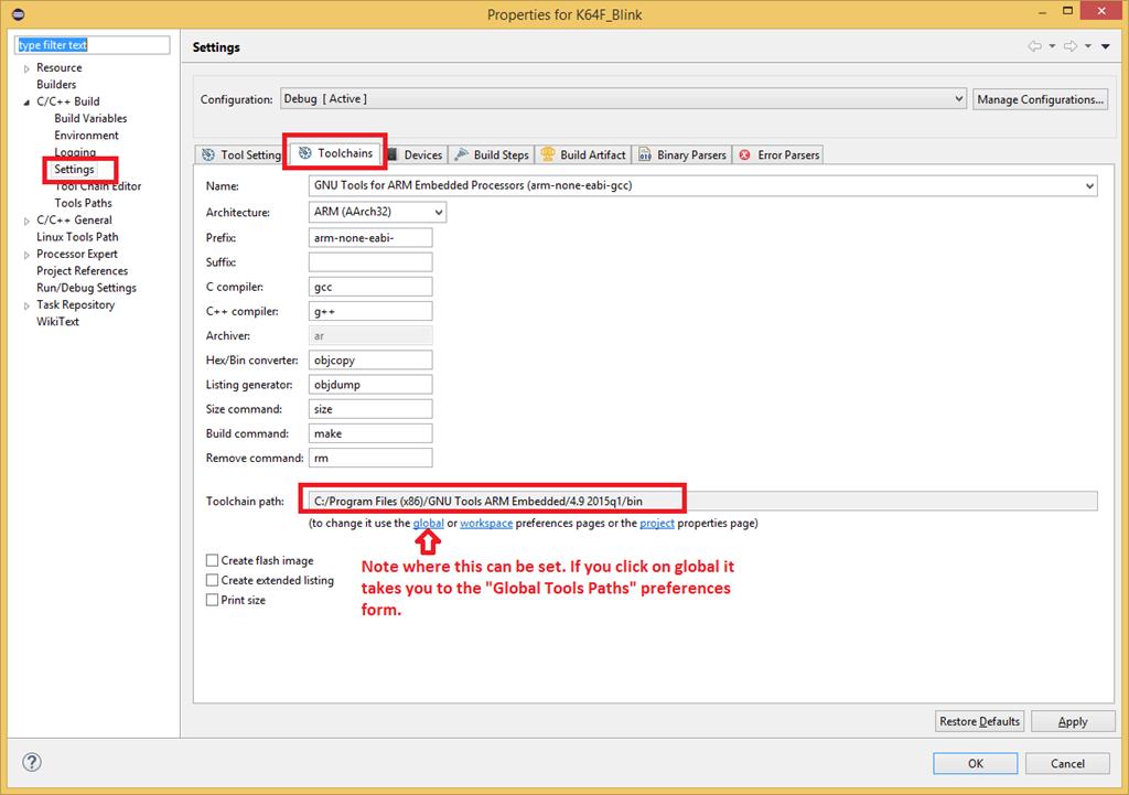 Toolchain: KSDK 1 2 0 with Eclipse 4 4 (Luna) and GNU ARM Plugin
